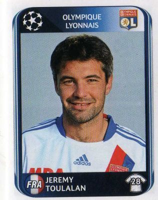 LYON - Jeremy Toulalan 82 PANINI UEFA Champions League 2010-2011 Football Sticker