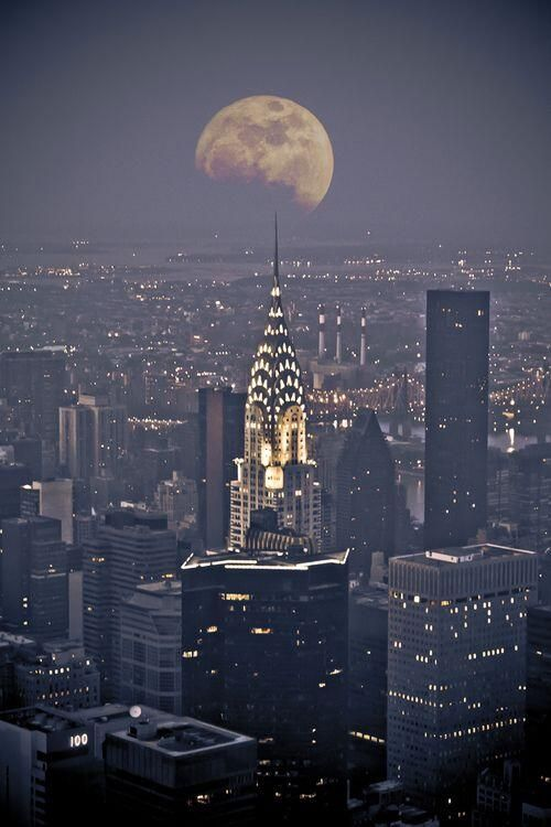 Moon over New York City