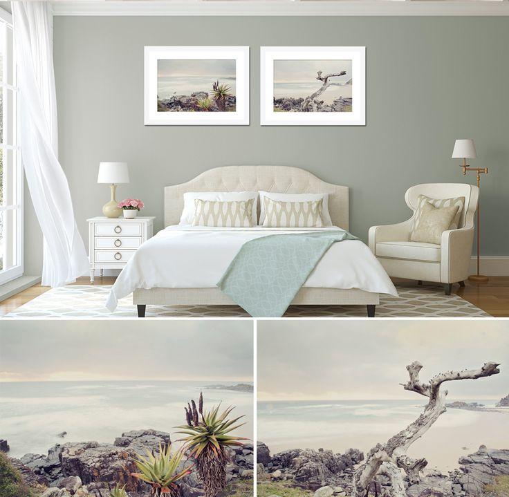 """White Sea print set 2"" - 2x 50x75cm prints, white frame. Fine art photography as home decor."
