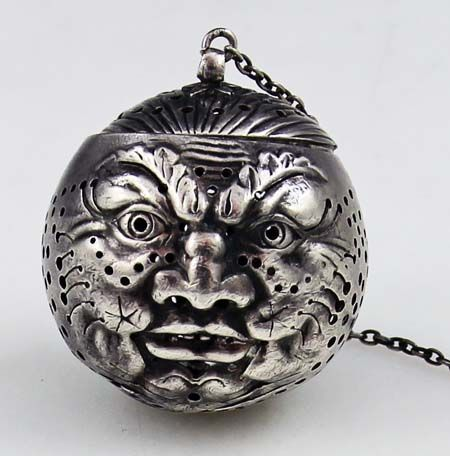 Gorham antique sterling man in the moon tea ball