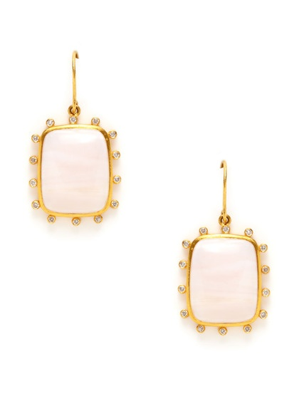 Brenda Diamond & Pink Opal Rounded Rectangle Earrings by Megan Odabash on Gilt.com