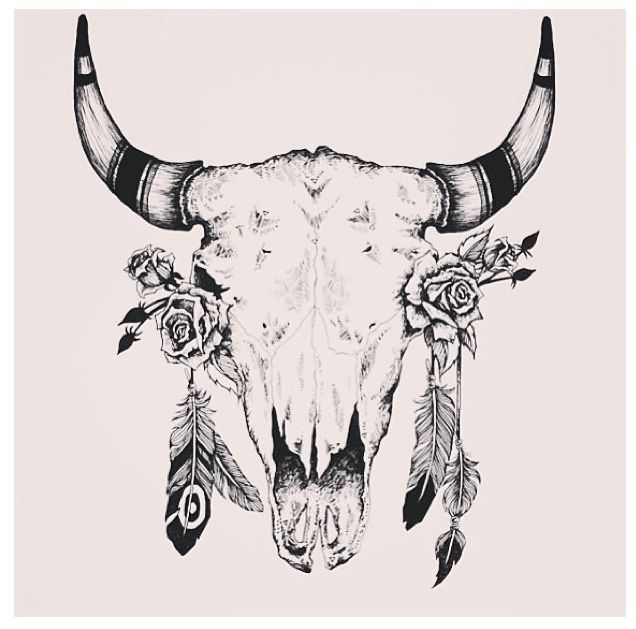Rustic Print Native American Style Bull Skull Tattoos Taurus Tattoos Skull Tattoos