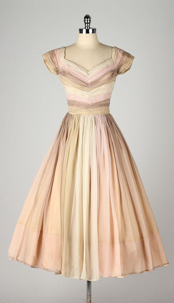 vintage 1950s dress . neopolitan striped by millstreetvintage