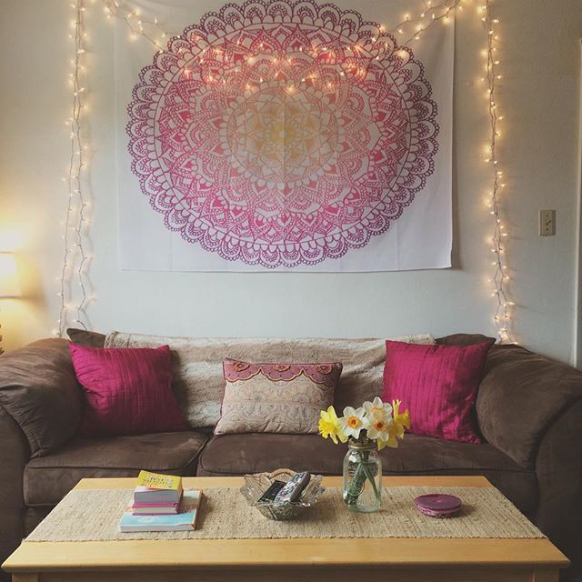 College living room decor with mandala tapestry