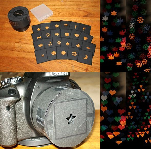 """Photo enthusiast Mike Gerdau wanted to play around with bokeh shapes but didn't want to create a separate """"lens cap"""" for each shape. His solution was to separate the shapes from the cap itself, cutting the shapes into 45x45mm squares that swap in and out of the cap easily. The """"slides"""" can be neatly stored away inside a white plastic Game Boy cartridge case when not in use."""