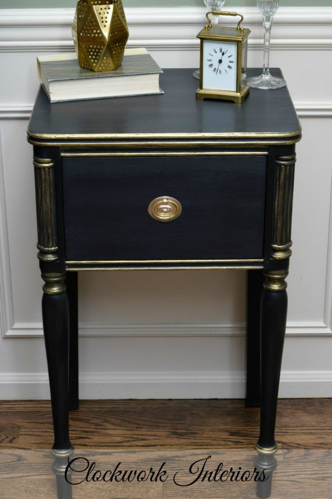 Black And Gold Painted Small Table
