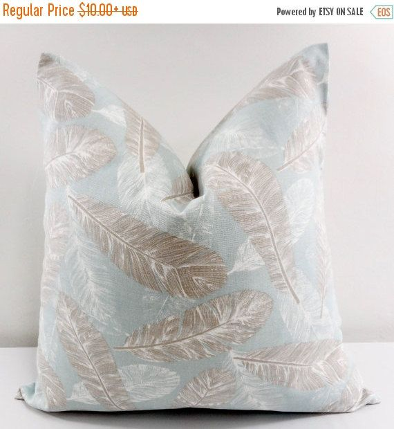 blue feather pillow cover flock spa blue light blue and white feather pillow cover sham pillow cover pillow case select size