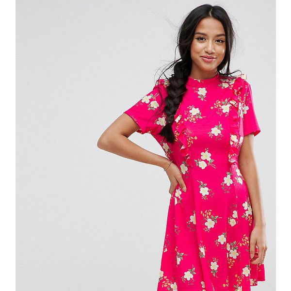 ASOS PETITE Mini Tea Dress with Open Back and Frill ($40) ❤ liked on Polyvore featuring dresses, pink, open back dresses, tall dresses, petite dresses, pink ruffle dress and ruffle dress