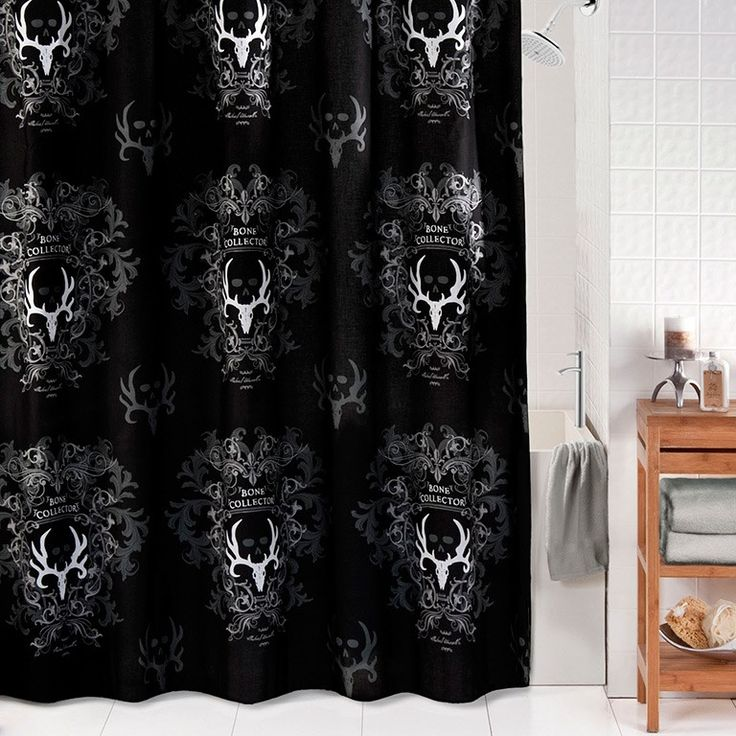 Bone Collector Black and Gray Shower Curtain | Camouflage & Hunting Decor