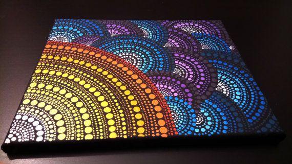 Pintura de punto  Pincel original hecha arte. Acrílico sobre lienzo. Tamaño: 30x24x2cm (12 x 9x0.7). Ninguna estructura necesaria. Lona estirada en el marco de la ciego. Marco del ensanchador, bordes envueltos alrededor de la parte posterior, pintada de negro. Firmado por Anna Kep en la parte posterior. Medio: acrílico Colores de dominación: azul, verde, rojo, naranja, amarillo.     ENVÍO: Los paquetes son enviados por correo dentro de 1-2 días después de recibir el pago.    Gracias por tu…
