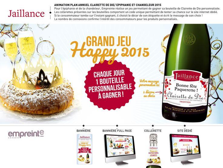 Pour la Clairette de Die Jaillance, Empreinte réalise un jeu Epiphanie-Chandeleur permettant de gagner des bouteilles aux étiquettes personnalisées avec le message de son choix.
