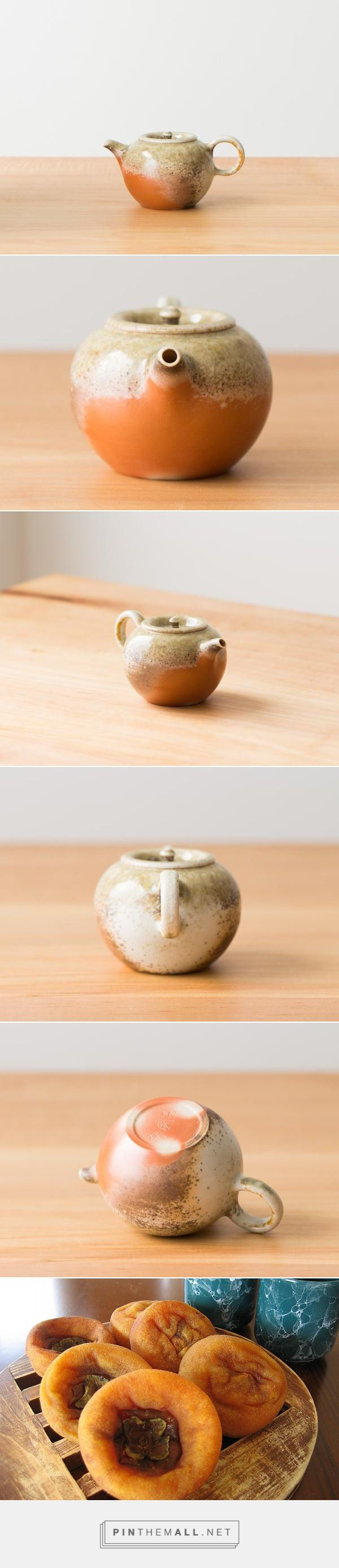 "Porcelain Study, Robin – Song Tea & Ceramics  Reminds me of a 柿餅, Chinese dried persimmon.  130ml  |  55mm tall  |  70mm diameter  This ""porcelain study"" pot is one of three pieces crafted in fine Japanese porcelain. It exhibits a grace and delicacy that stands in stark contrast to the rusticity of its wood-fired origins.  We call this pot Robin, for the brilliant orange flame flash on the breast of the pot. A unique inset lid and finial ties the lines together. To achieve the unique..."