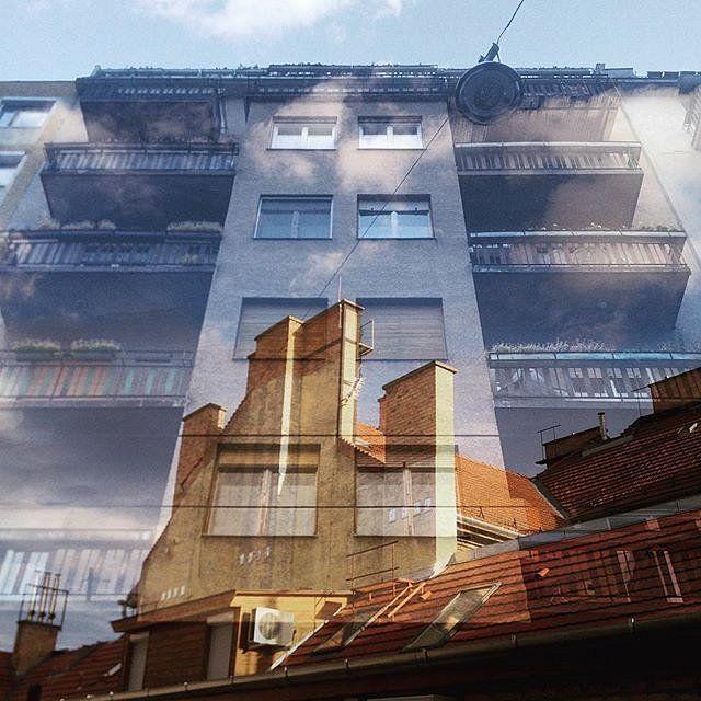 Building meets rooftop scene  double exposure #doubleexposure #multiexposure #multipleexposure #building #buildings #windows #clouds #rooftop #dxe #dxp #twocitiesbudapest #craighullphoto #doubleexposeeurope