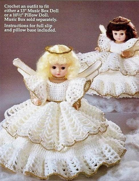 Vintage Crochet Pattern Angel Pillow Doll Bed Doll Music