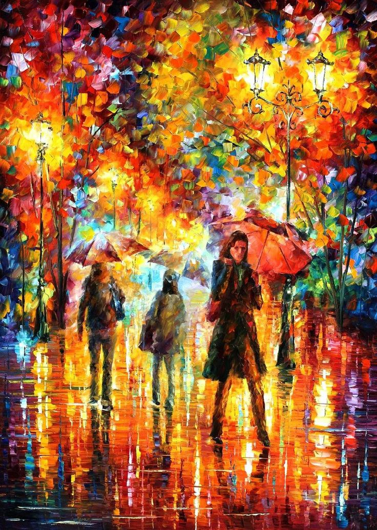 Another painting of Leonid Afremov. It's an oil painting, painted with a pallet knife. A brush was never used. Using a knife stops obsessive concentration of detail, makes the artist work in a more global way
