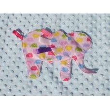 Pink elephant taggie blankie