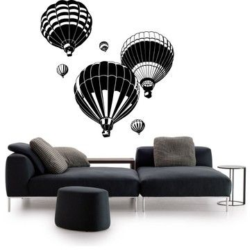 Hot Air Balloons Sticker eclectic-wall-decals. Comes in several different colors