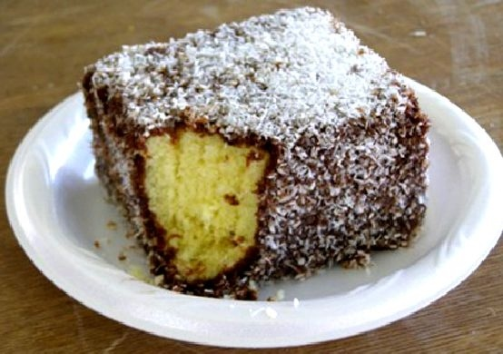 Lovely Lamington: A chunk of yellow cake covered with thick chocolate ganache and coconut.