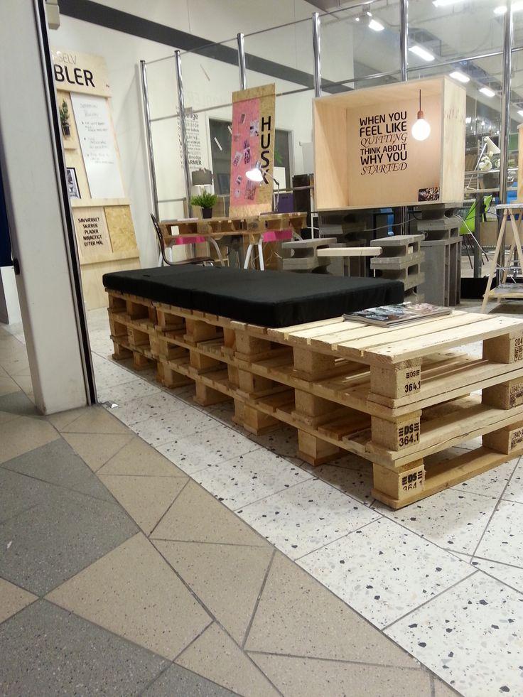 Daybed eller sofa / bænk af europa paller og madras - fra butikken i Tilst