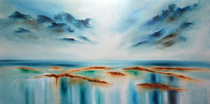 """Buy """"Calm II"""" Huge sea painting, Oil painting by Niki Katiki"""
