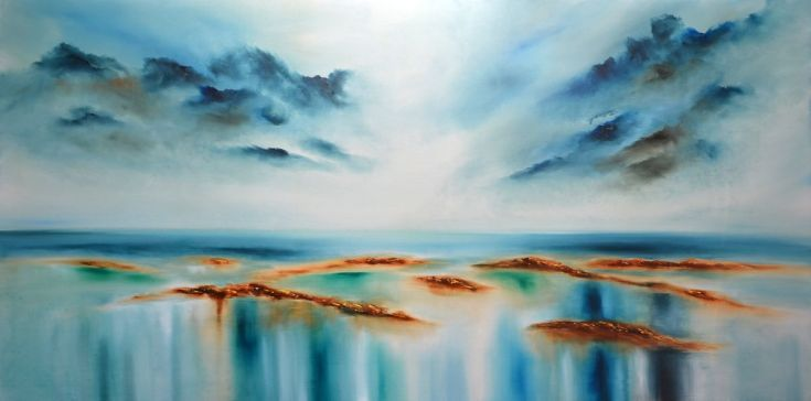 """Buy """"Calm II"""" Huge sea painting, Oil painting by Niki Katiki on Artfinder. Discover thousands of other original paintings, prints, sculptures and photography from independent artists."""