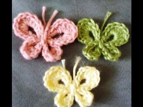 Papillon au crochet كروشيه فراشه سهله - YouTube