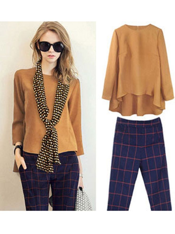 Women Casual Front Short Back Long Blouse And Plaid Pants Sets