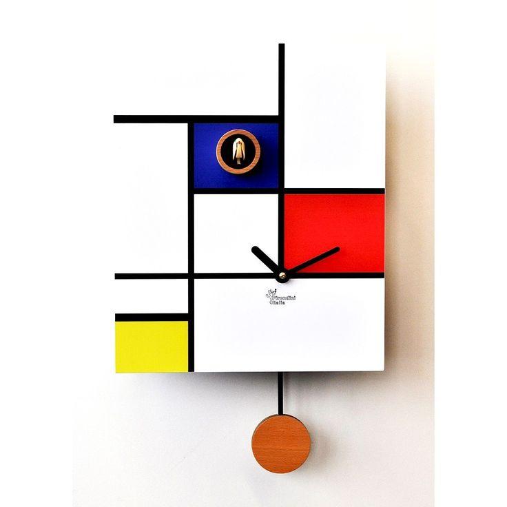 #Orologio da Parete a #pendolo e a #cucu. #Pirondini modello Around Mondrian
