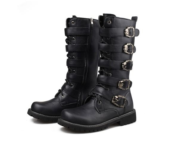 Mens goth punk black pu leather long winter boots boots 6
