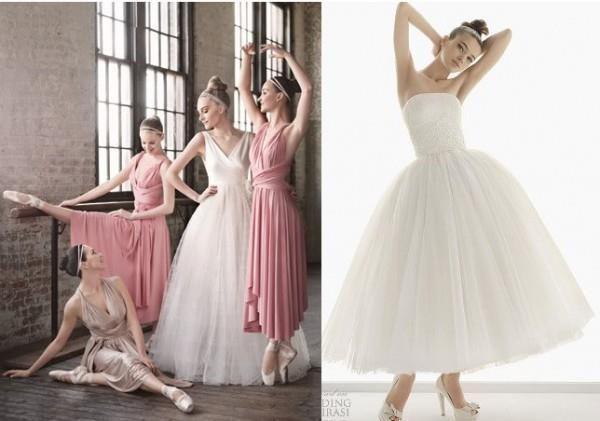 Свадебное платье пачка средней длины