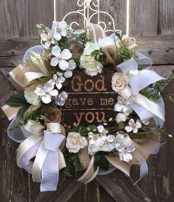 Wedding Decoration, Everyday Wreath, Burlap Wreath, Wedding Floral, Wedding Wreath, Door Hanging, God Gave Me You on Etsy, $149.00