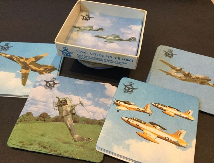 Vintage Coasters X 20 Royal Australian Air Force Hanna Match Military Aircraft in Collectables, Militaria, Modern, Current | eBay!