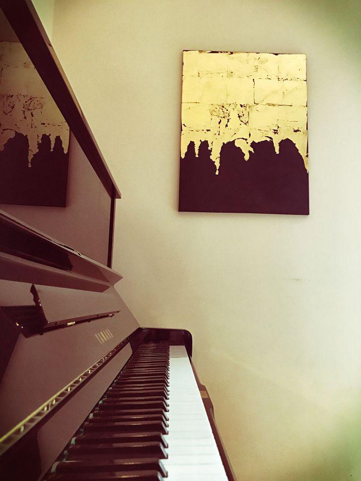 Golden notes/ piano/ foglia d'oro / quadro/ arte moderna/ dipinto acrilico/ Yamaha U3