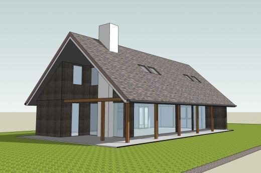 Deze schuurwoning bestaat uit grote glaspartijen. De flauwe zadelkap geeft de woning een landelijk karakter.