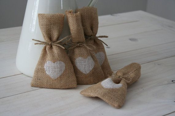100 White Heart Hessian/ Burlap Wedding Favor Bags by BreeWestwood, $150.00