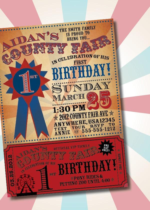 DIY Printable Vintage County Fair Customizable Birthday Party Invitation. $16.50, via Etsy.