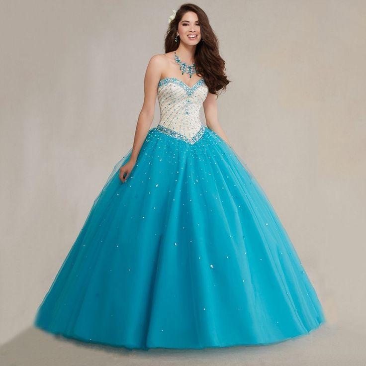 Fashionable Vestidos De 15 Anos Debutante Ball Gown Sweetheart Luxury Crystals Blue Quinceanera Dresses 2016 Rhinestones