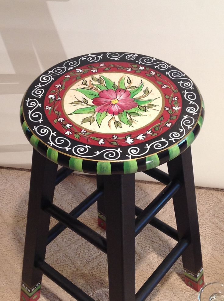 "24"" hand painted custom round top wooden bar stool - counter stool - chair"