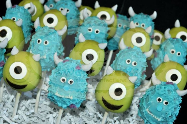 Monster inc cake pops