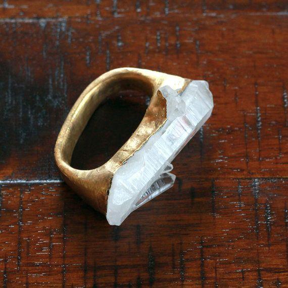 Anello quarzo oro / oro anello druzy / oro anello di VagabondQueen