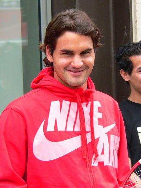Roger Federer shy smile