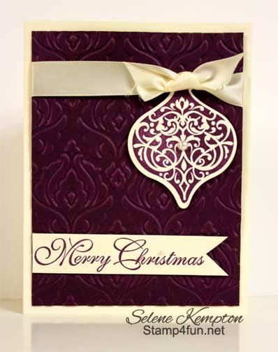6/18 Stampin Up Ornament Keepsake and Greetings of the Season, Merry Christmas, Blackberry Bliss and Satin Ribbon - Stamp 4 Fun with Selene ...