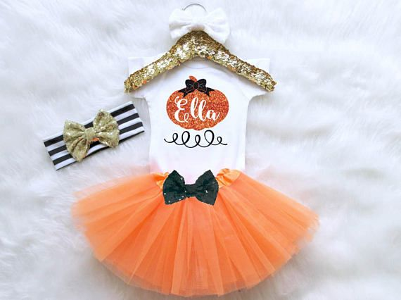 Pumpkin Halloween Baby Girl Outfit. Fall Baby Outfit. Pumpkin