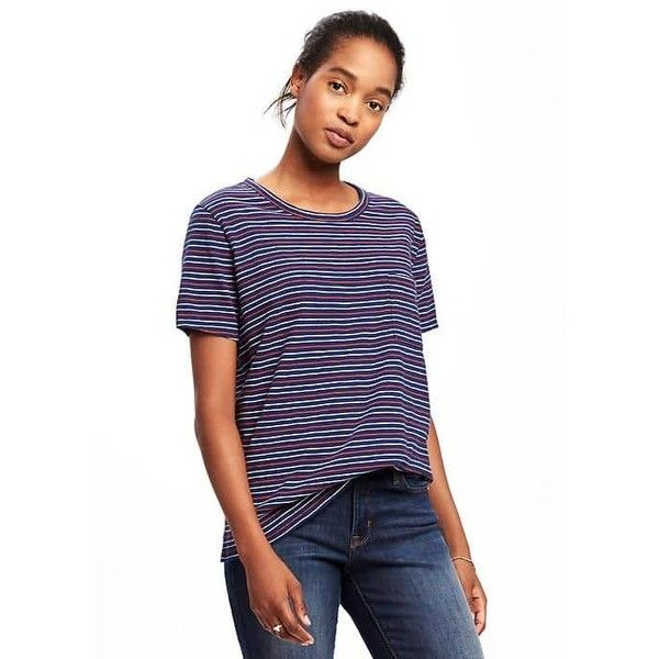 Old Navy Womens Slub Knit Cropped Boyfriend Tee ($6.97) ❤ liked on Polyvore featuring tops, t-shirts, blue, petite, white crop tops, white crew neck t shirt, white crew t shirt, short sleeve crew neck t shirt and blue t shirt