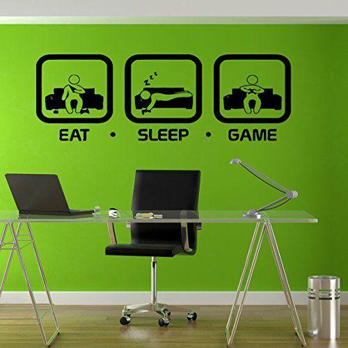 Eat Sleep Game Wall Decal Gaming Geek Nerd Gigaflops Joystick playing Sticker Wall Decal Decor Gamer ps4 xbox Wall art sticker tr212 stickalz http://www.amazon.com/dp/B00UE291B8/ref=cm_sw_r_pi_dp_i3FHvb13ETKJA