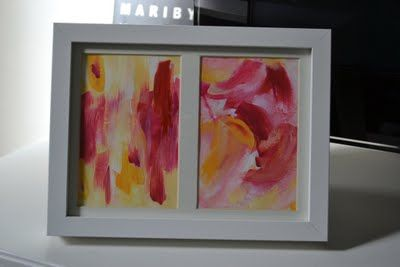 DIY yellow and pink abstract art. Acrylic on paper.