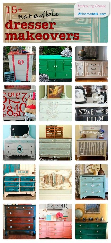 15+ Incredible Dresser Makeovers!inspire me, I have two that need some paint love:)