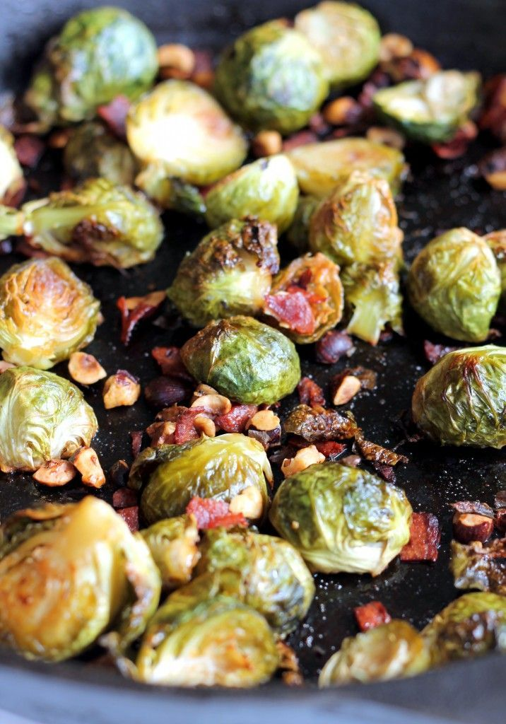 Maple-Roasted Brussel Sprouts with Bacon + Toasted Hazelnuts
