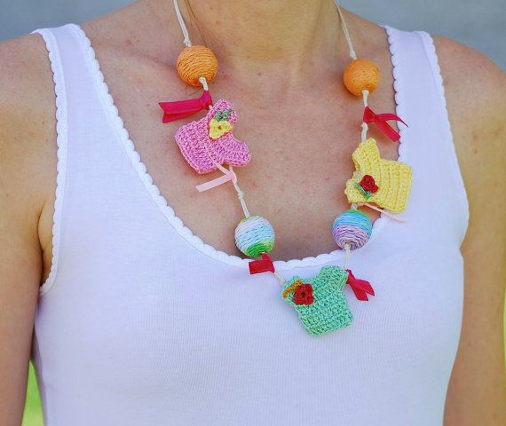 Kawaii mini tops. Handmade Crochet Necklace. by MeandMamaCreations