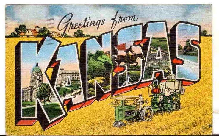 1943 Postmarked Postcard Large Letter Greetings from Kansas KS Soldier WWII
